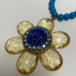 Lenora Dame Flower Bead Rhinestone Necklace